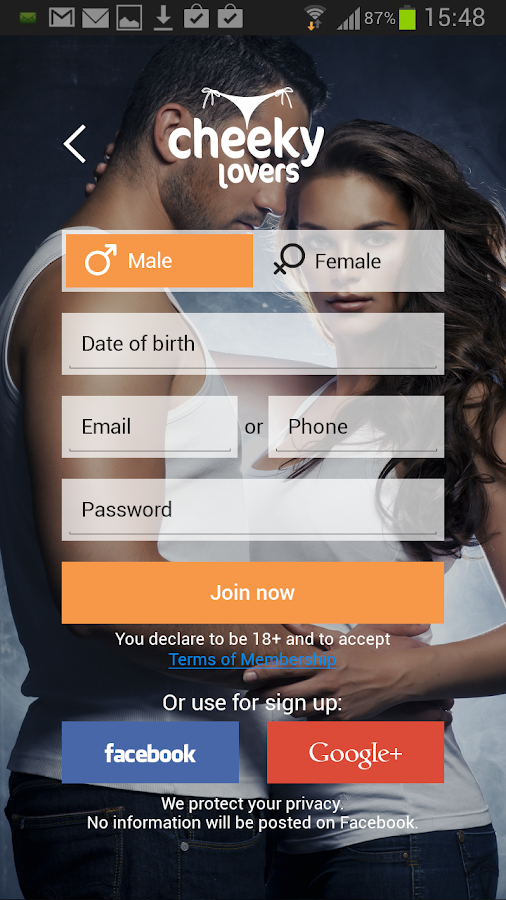 CheekyLovers Online Dating App - screenshot