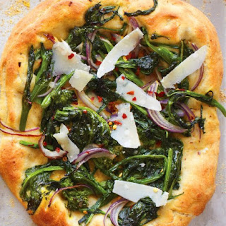 Broccoli Rabe Pizza with Hazelnut Dough