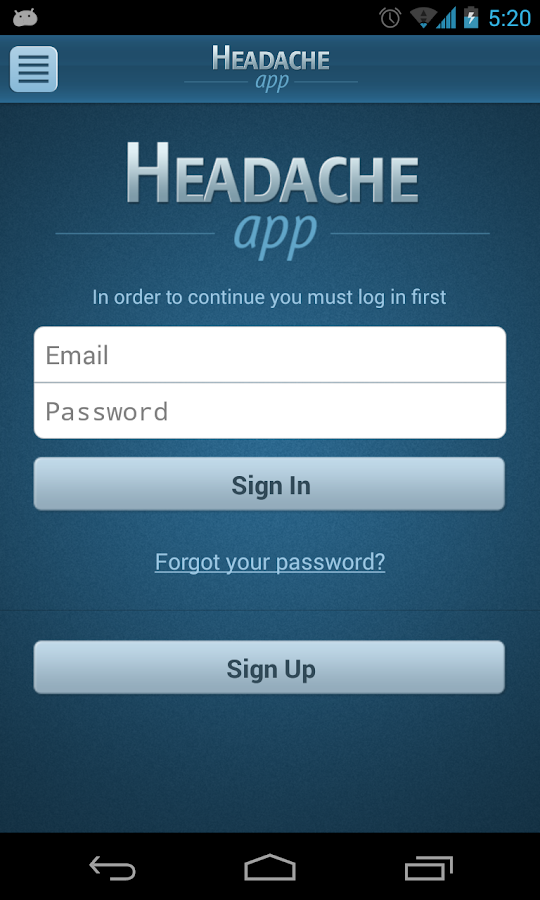 Headache App - screenshot