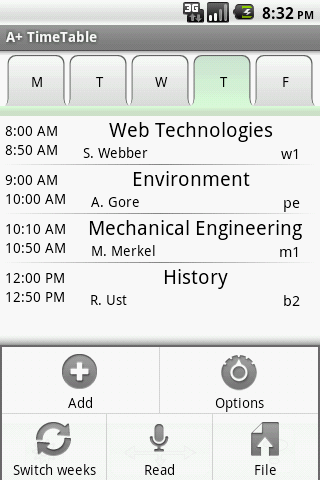 A+ Timetable - screenshot