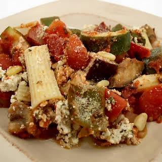 Rigatoni with Zucchini and Eggplant.