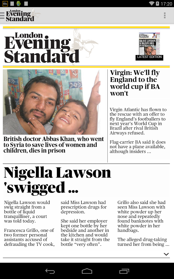 London Evening Standard- screenshot