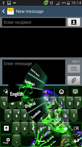 GO Keyboard Green Skull