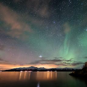 Tjeldsund by Rune Nilssen - Landscapes Starscapes ( northern, k5, borealis, sigma, aurora, sea, pentax, 10mm, light, tjeldsund.nordland, norway, fjord,  )