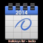 HOLIDAYS LIST, INDIA - 2014