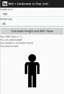 BMI + Centimeter to Feet, Inch - screenshot thumbnail