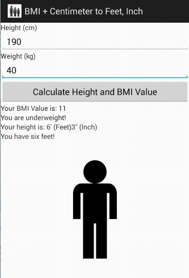 BMI + Centimeter to Feet, Inch - screenshot