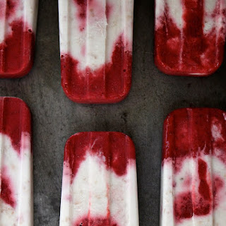Roasted Strawberry and Toasted Coconut Popsicles.