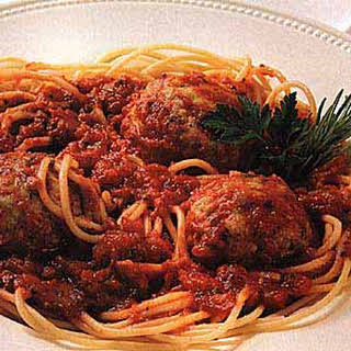 Spaghetti with Turkey-Pesto Meatballs.