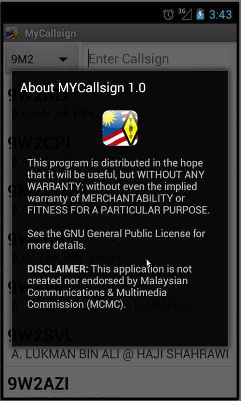 Malaysian Hamradio Callsign DB - screenshot