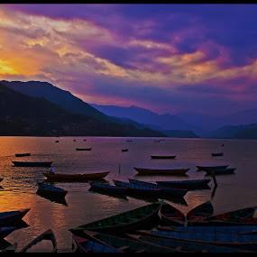 Phewa Lake, Pokhara, Nepal by Pritam Saha - Landscapes Waterscapes ( waterscape, sunset, travel, landscape, , water, device, transportation )