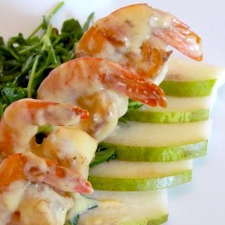Pea Shoot Salad with Mustard Cream Shrimp and Honey Bear Pear.