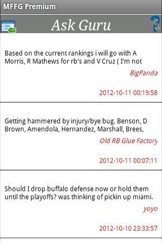 My Fantasy Football Guru NFL - screenshot