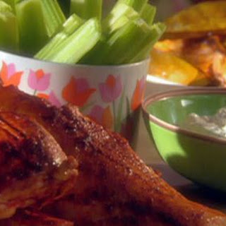 Chicken with Buffalo Sauce and Blue Cheese Dip with Roasted Sweet Potatoes Recipe