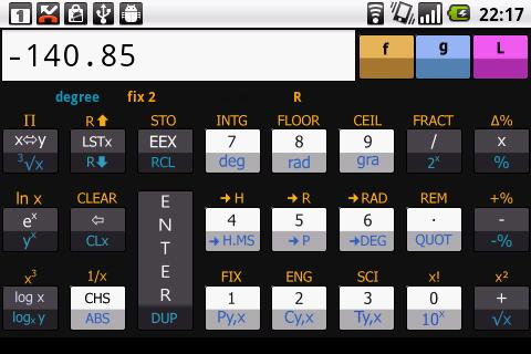 Scientific RPN calculator - screenshot