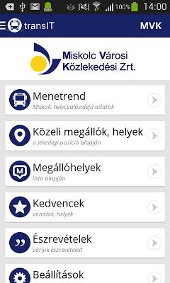 transIT menetrend: MVK Zrt. - screenshot