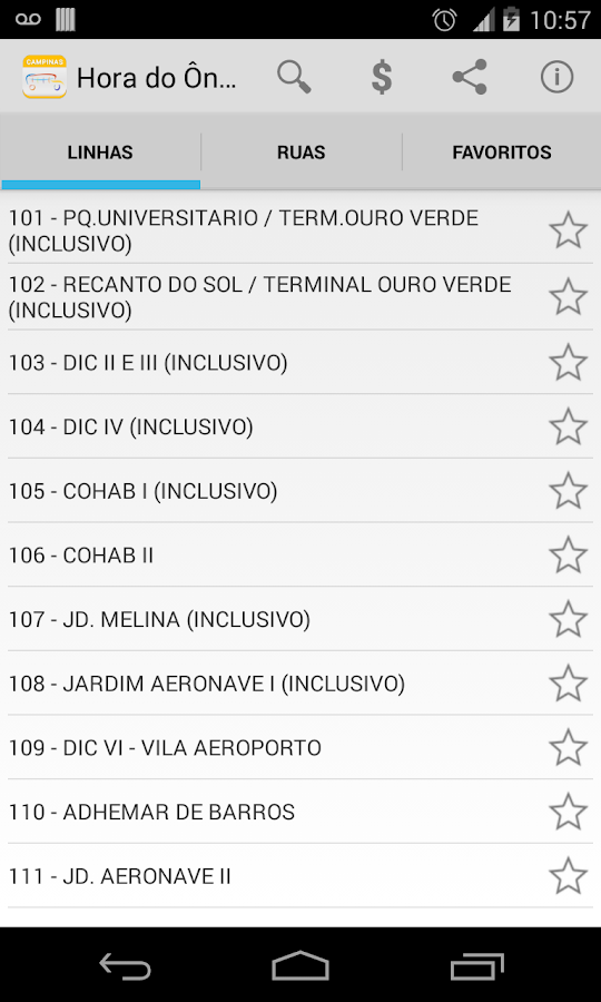 Public Bus Timetable Campinas - screenshot