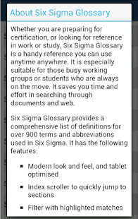 Six Sigma Glossary - screenshot thumbnail