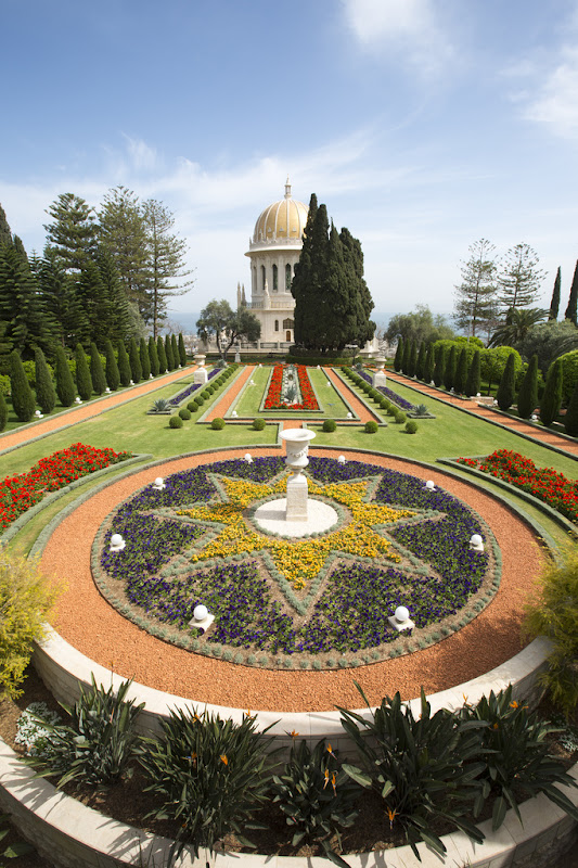 The Bahá'í Gardens in Haifa, Israel comprise a staircase of nineteen terraces extending all the way up the northern slope of Mount Carmel.