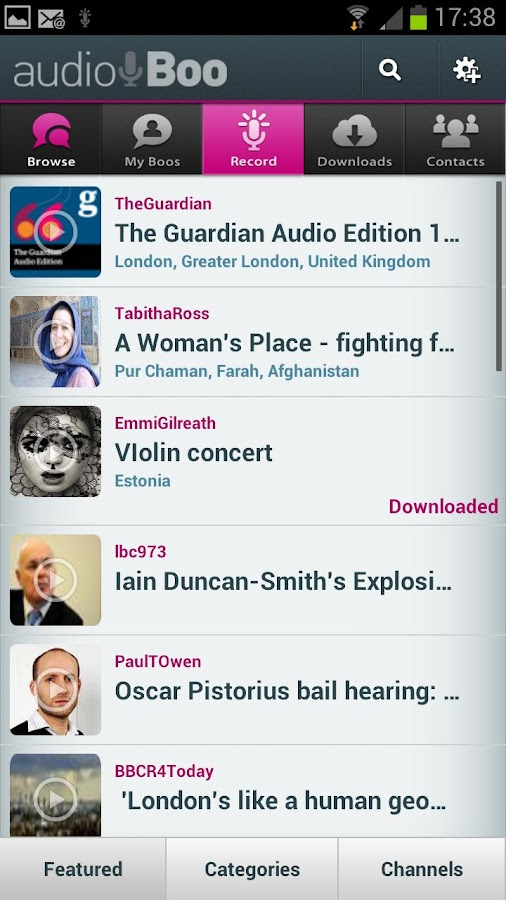 Audioboo Two Beta - screenshot