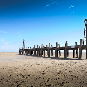 The remains of St Annes pier landing jetty by Michael D Beckwith - Landscapes Beaches ( england, lancashire, st annes, beach, jetty, seaside )