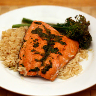 Lime and Honey-Glazed Salmon with Rice and Broccolini