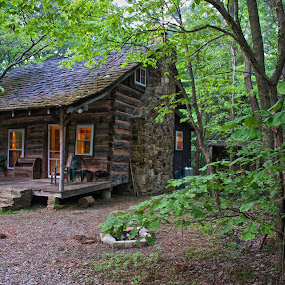 Little Cabin in the Woods by Hugh Hazelrigg - Buildings & Architecture Homes ( cabin, indiana, building, photo shoot, pixoto, forest, architecture, spring, Lighting, moods, mood lighting )