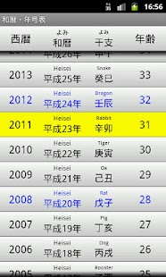 Japanese Calendar Table - screenshot thumbnail