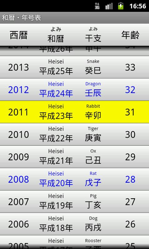 Japanese Calendar Table - screenshot
