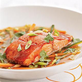 Hoisin-glazed Wild Alaska Salmon in Ginger Broth.