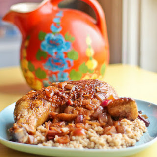Spanish Inspired Spiced Chicken with Pomegranate and Vinegar.