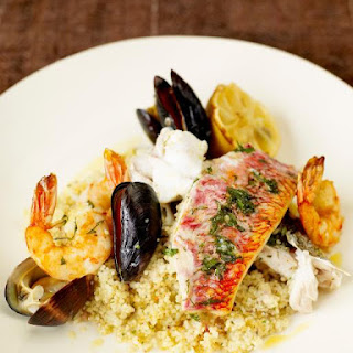 Mixed Fish Grill With Lemon Couscous.