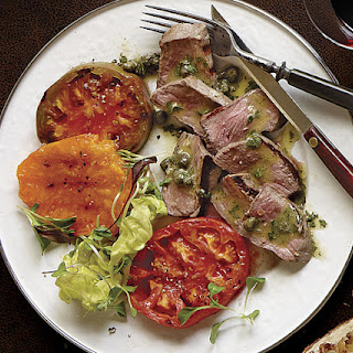 Grilled Denver Steak and Tomatoes with Caper-Mustard Vinaigrette