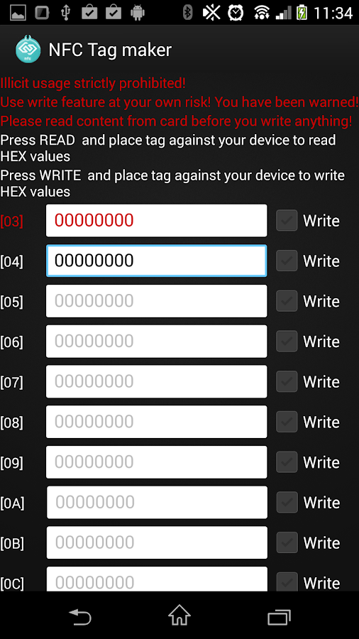 NFC Tag maker & HEXEDIT - screenshot