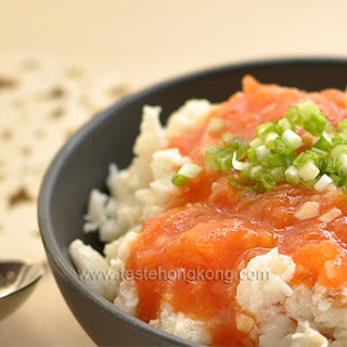 Scrambled Egg White with Fish Fillet and Tomatoes.