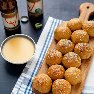 Stuffed Pretzel Rolls with Beer Cheese Sauce.
