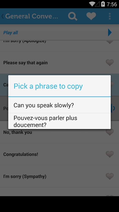 Learn French Phrasebook- screenshot