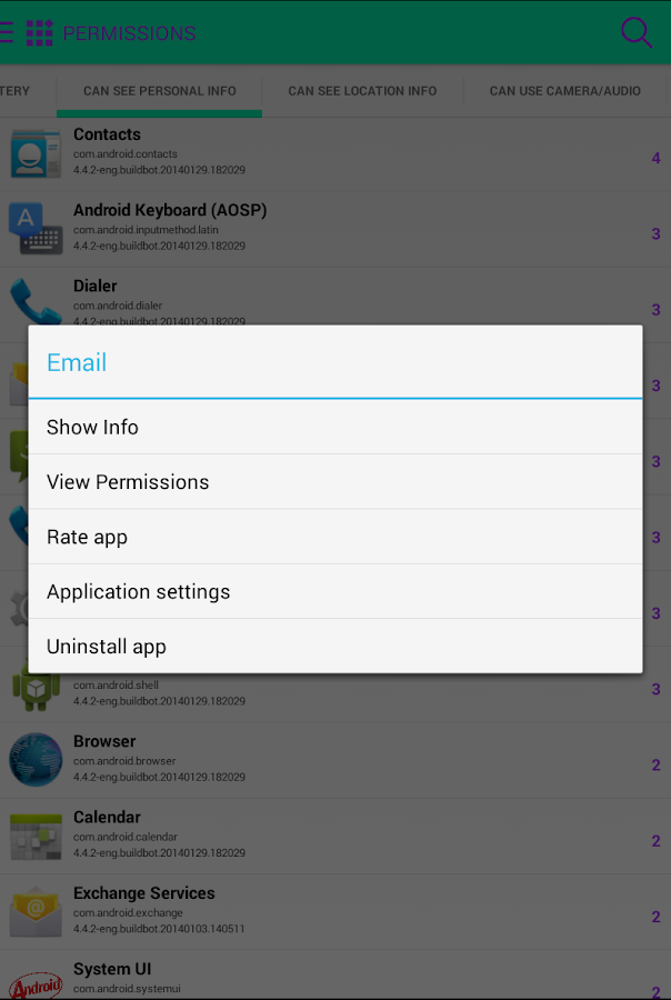 F-Secure App Permissions - screenshot