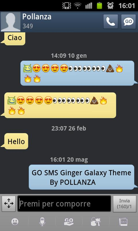 GO SMS Theme Ginger Galaxy - screenshot