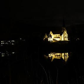 Skotfoss cheerch by Blerim Havolli - Buildings & Architecture Places of Worship ( havolli, waterscape, blerim, night, norge, worship, cheerch, norway )