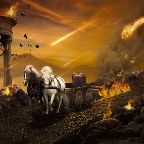 Meteor  by Juprinaldi Photoart  - Digital Art Things ( meteor                   horse's                fire                   rock                 tree                          sky                     papers                     stone )