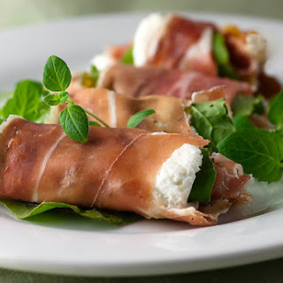 Prosciutto Rolls with Goat Cheese, Arugula and Fig Spread.