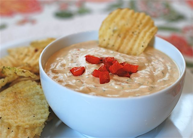 Roasted Red Pepper and Spinach Dip Recipe