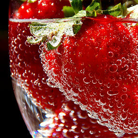 Strawberries and Bubbles I by Richard Timothy Pyo - Food & Drink Fruits & Vegetables ( Food & Beverage, meal, Eat & Drink, red, green )