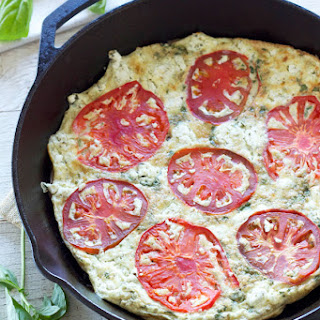 Tomato Basil Frittata with Herbed Goat Cheese
