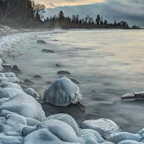 Steamy Morning by David Johnson - Landscapes Beaches ( calmness, ice, artistic, lake superior, sunrise )