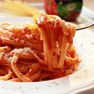 Linguine in Tomato and Speck Sauce.