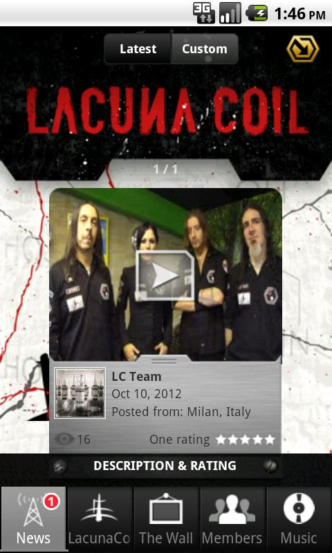 Lacuna Coil: Mobile Backstage - screenshot