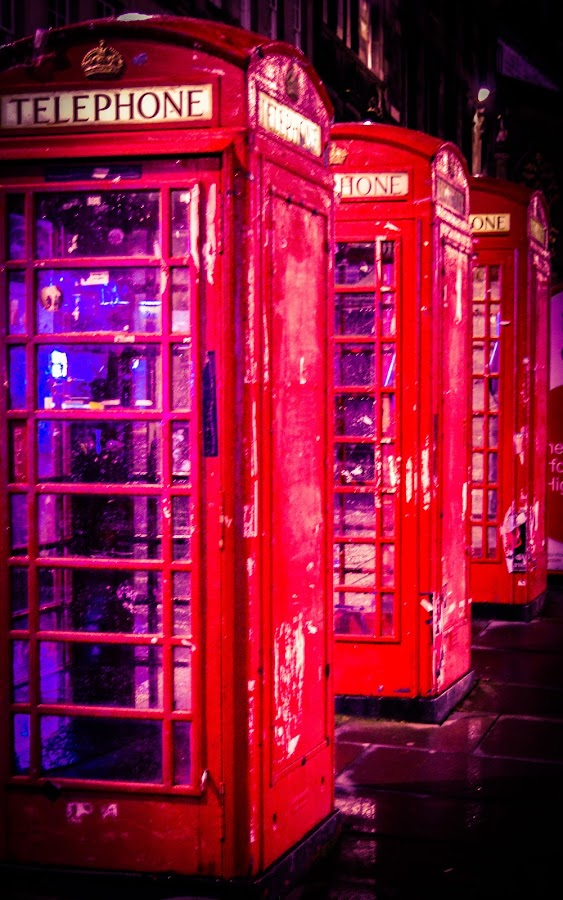 Three red boxes all in a row! by Lyndsay Hepburn - City,  Street & Park  Night ( btphonebox, royalmilephonebox, ukphonebox, antiquephonebox, redphonebox, vertical lines, pwc )