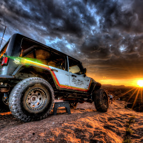 by Ed Mullins - Transportation Automobiles ( moab, utah, wheel, jeep, sunset, clouds, wrangler, tire,  )